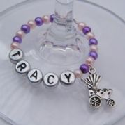 Baby Pram Personalised Wine Glass Charm - Full Bead Style